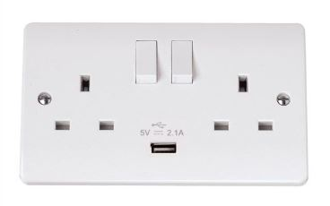 USB 13A 2 GANG SOCKET SW