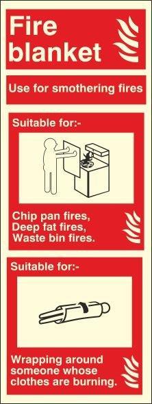 FIRE BLANKET PHOTOLUMINESCENT SIGN